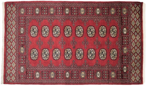 Pakistan Silk Touch 155x93 Handgeknüpft Teppich 90x160 Rot Geometrisch Muster Kurzflor
