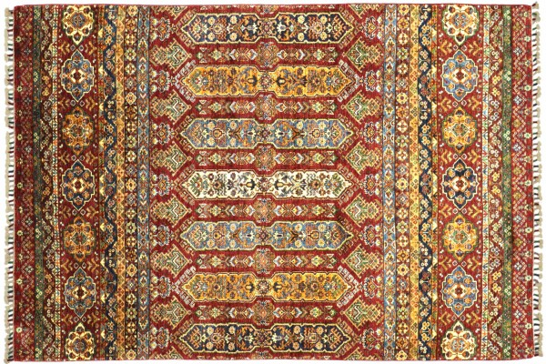 Afghan Khorjin Shaal 252x168 Handgeknüpft Orientteppich 170x250 Rot Streifen Wolle
