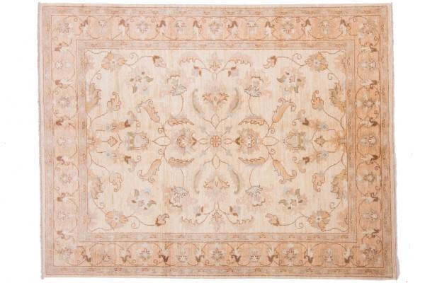 Afghan Chobi Ziegler 198x153 Handgeknüpft Teppich 150x200 Beige Blumenmuster Kurzflor