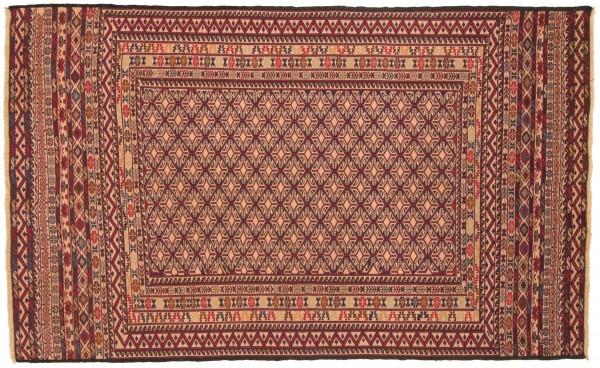 Afghan Mushwani Kelim 196x117 Handgewebt Teppich 120x200 Rot Orientalisch Handarbeit