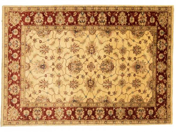 Afghan Chobi Ziegler 184x128 Handgeknüpft Teppich 130x180 Beige Blumenmuster Kurzflor