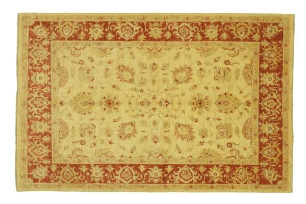 Afghan Chobi Ziegler 201x149 Handgeknüpft Teppich 150x200 Beige Floral Kurzflor Orient
