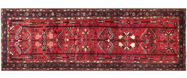Perser Hamedan Teppich 110x290 Handgeknüpft Läufer Rot spiegelmuster Wolle Kurzflor Rug