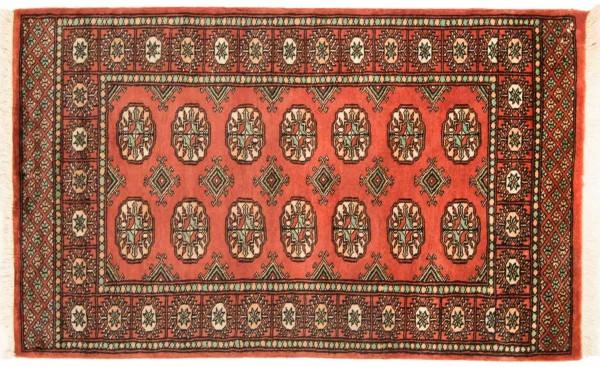 Pakistan Buchara 131x80 Handgeknüpft Teppich 80x130 Orange Geometrisch Muster Kurzflor