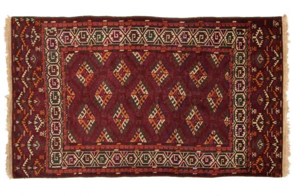 Kaukasus Yamut 200x116 Handgeknüpft Teppich 120x200 Rot Geometrisch Muster Kurzflor