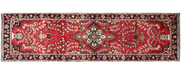 Perser Hamedan Teppich 80x280 Handgeknüpft Läufer Rot Medaillon Wolle Kurzflor