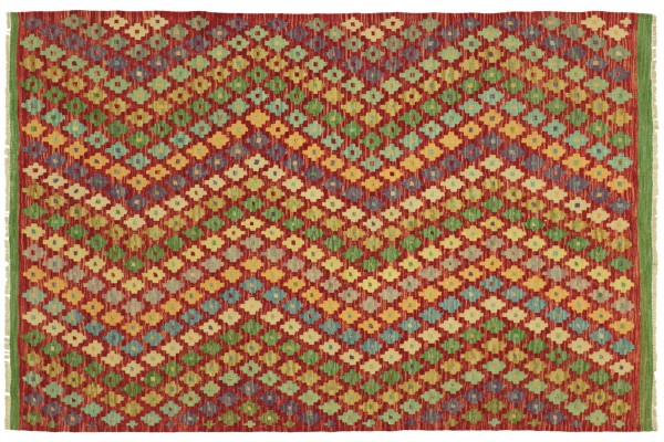 Afghan Maimana Kelim Bunt 182x148 Handgewebt Teppich 150x180 Bunt Geometrisch Orient