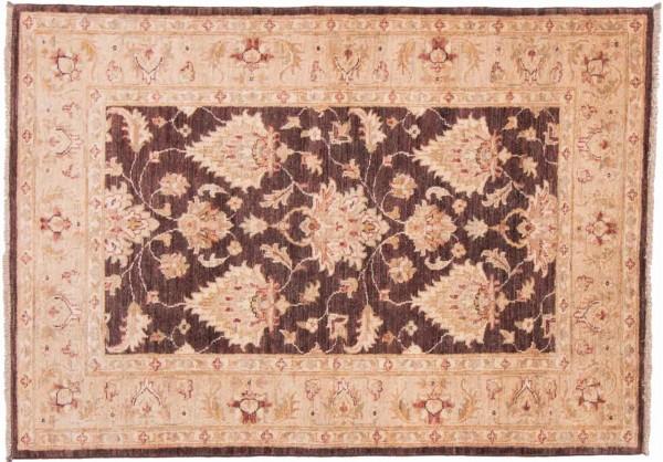 Afghan Chobi Ziegler 145x102 Handgeknüpft Teppich 100x150 Beige Orientalisch Kurzflor