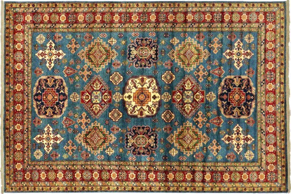 Afghan Kazak Fein 323x250 Handgeknüpft Orientteppich 250x320 Blau Geometrisch Wolle