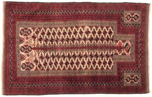 Perser Belutsch 162x100 Handgeknüpft Teppich 100x160 Rot Geometrisch Muster Kurzflor