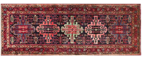 Perser Hamedan Teppich 120x290 Handgeknüpft Läufer rot spiegelmuster Wolle Kurzflor Rug