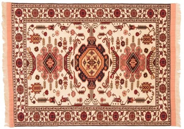 Afghan Mauri Kabul 141x110 Handgeknüpft Teppich 110x140 Beige Geometrisch Muster