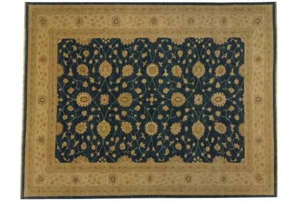 Afghan Chobi Ziegler 388x304 Handgeknüpft Teppich 300x390 Blau Orientalisch Kurzflor
