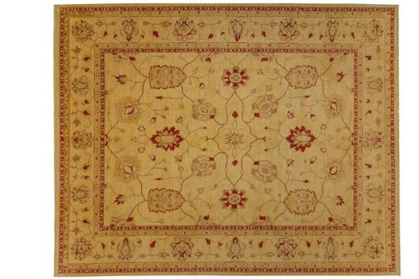 Afghan Chobi Ziegler 380x313 Handgeknüpft Teppich 310x380 Beige Orientalisch Kurzflor
