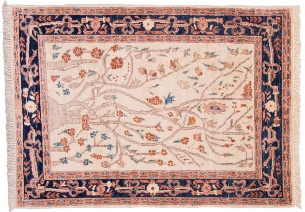 Afghan Chobi Ziegler 126x91 Handgeknüpft Teppich 90x130 Beige Orientalisch Kurzflor