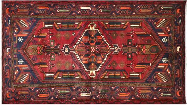 Perser Hamedan Teppich 120x200 Handgeknüpft Rot spiegelmuster Wolle Kurzflor Rug