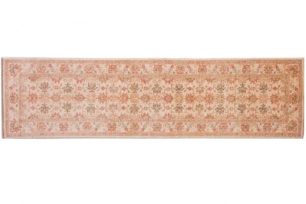 Afghan Chobi Ziegler 263x71 Handgeknüpft Teppich 70x260 Läufer Beige Orientalisch