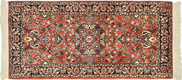 Sarough Teppich 70x140 Handgeknüpft Orange Floral Wolle Kurzflor Rug
