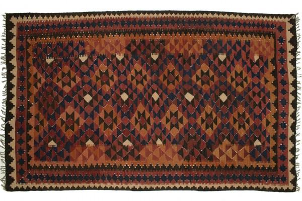 Afghan Maimana Kelim 252x152 Handgewebt Teppich 150x250 Mehrfarbig Geometrisch Muster
