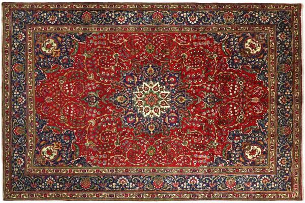 Perser Tabriz 344x255 Handgeknüpft Orientteppich 260x340 Rot Spiegelmuster Wolle