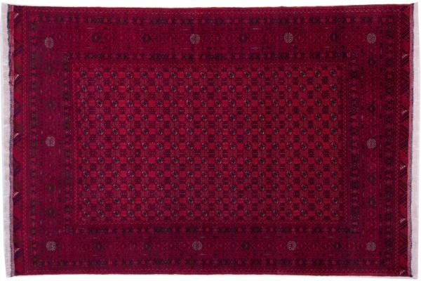 Afghan Mauri 284x191 Handgeknüpft Teppich 190x280 Beige Geometrisch Muster Kurzflor