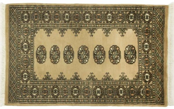 Pakistan Buchara 123x77 Handgeknüpft Teppich 80x120 Orange Geometrisch Muster Kurzflor