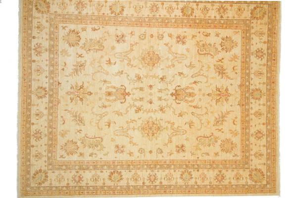 Afghan Chobi Ziegler 301x248 Handgeknüpft Teppich 250x300 Beige Orientalisch Kurzflor