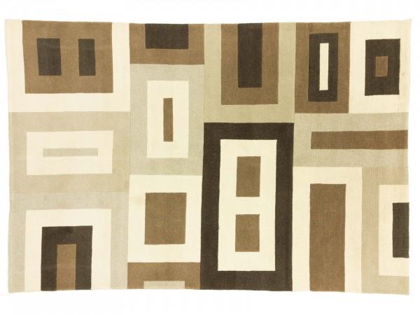 Nepal 292x202 Handgeknüpft Teppich 200x290 Beige Geometrisch Muster Kurzflor Orient Rug