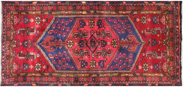 Perser Hamedan Teppich 110x210 Handgeknüpft Rot spiegelmuster Wolle Kurzflor Rug