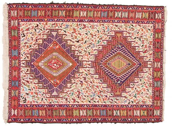 Perser Seidensoumakh 145x110 Handgewebt Teppich 110x150 Mehrfarbig Orientalisch