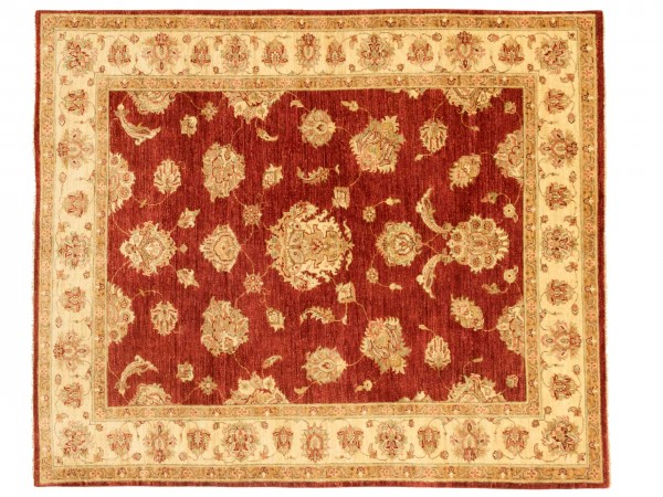 Afghan Chobi Ziegler 185x158 Handgeknüpft Teppich 160x190 Quadratisch Beige