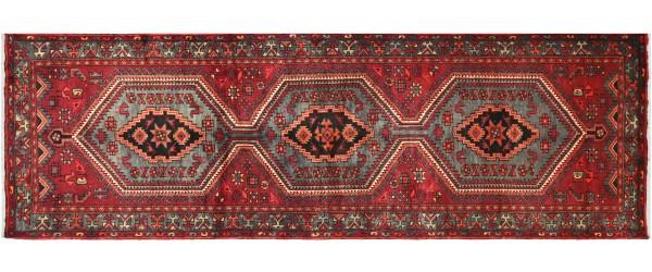 Perser Hamedan Teppich 110x310 Handgeknüpft Läufer Rot spiegelmuster Wolle Kurzflor Rug