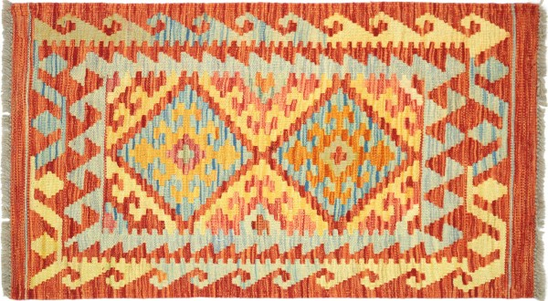 Afghan Maimana Kelim Bunt 100x62 Handgewebt Teppich 60x100 Bunt Geometrisch Orient