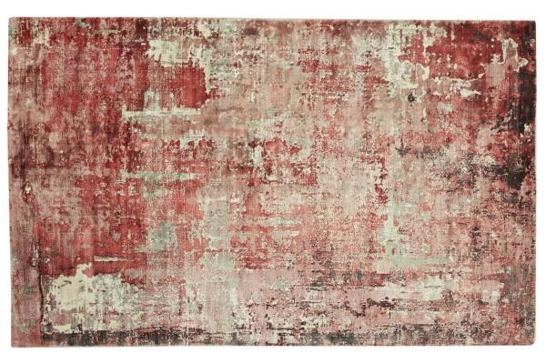 Handloom Vintage 230x160 Handgewebt Teppich 160x230 Rot Abstrakt Handarbeit Orient