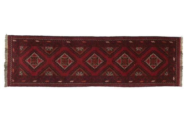 Afghan Andkhoi 260x71 Handgeknüpft Teppich 70x260 Läufer Rot Geometrisch Kurzflor