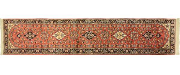 Sarough Teppich 80x400 Handgeknüpft Läufer Rosa Floral Wolle Kurzflor Rug