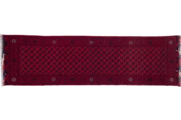 Afghan Orientteppich 293x82 Handgeknüpft Teppich 80x290 Läufer Beige Geometrisch Muster