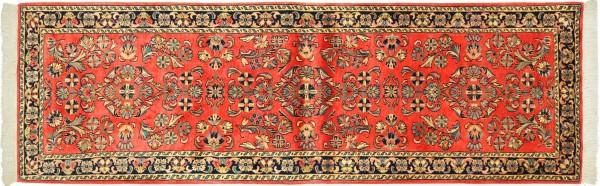 Sarough Teppich 80x250 Handgeknüpft Läufer Orange Floral Wolle Kurzflor Rug